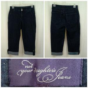 NYDJ womens jeans capris Sz 2 Dark blue Cuffs Tabs